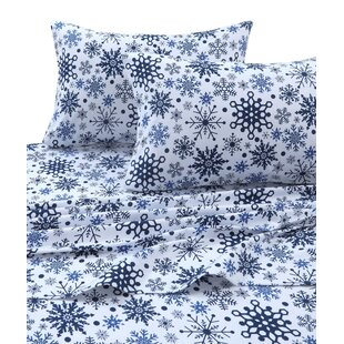 Snowflakes 170-GSM Printed Flannel Extra Deep Pocket 100% Cotton Sheet Set by The Holiday Aisle Comparison