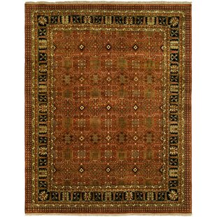 Trend Mazon Hand Knotted Wool Rust/Black Area Rug By Astoria Grand