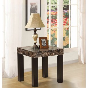 Mccumber Faux Marbelized Granite End Table