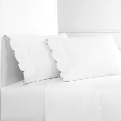Eider Ivory Brandt Double Scalloped 300 Thread Count 100 Cotton Sheet Set Eider Ivory Size California King Color White White From Wayfair North America Shefinds