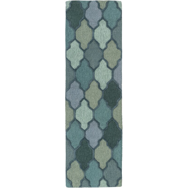 Andover Mills Paul Geometric Handmade Tufted Wool Dark Green Area Rug Reviews Wayfair