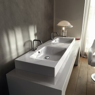 Compare & Buy Cento Ceramic 56 Wall Mount Bathroom Sink with Overflow By WS Bath Collections