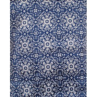 Indo Modern Hand Knotted Silk Blue White Area Rug