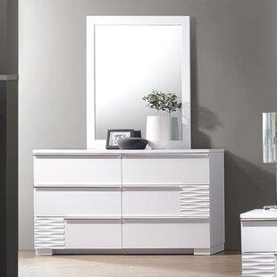 Latitude Run Gaines 6 Drawer Double Dresser with Mirror