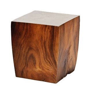 Natural Teak Square Taper End Table by Ibolili