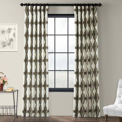 "Half Price Drapes Sorong Printed Cotton Tab Top Single Curtain Panel Size per Panel: 50"" W x 108"" L, Colour: Grey"