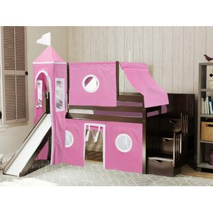 Johannes Castle Stairway Twin Low Loft Bed with Slide by