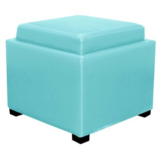 Jeddo Leather Cube Ottoman by Red Barrel Studio