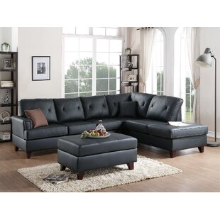 Allene Leather Sectional with Ottoman