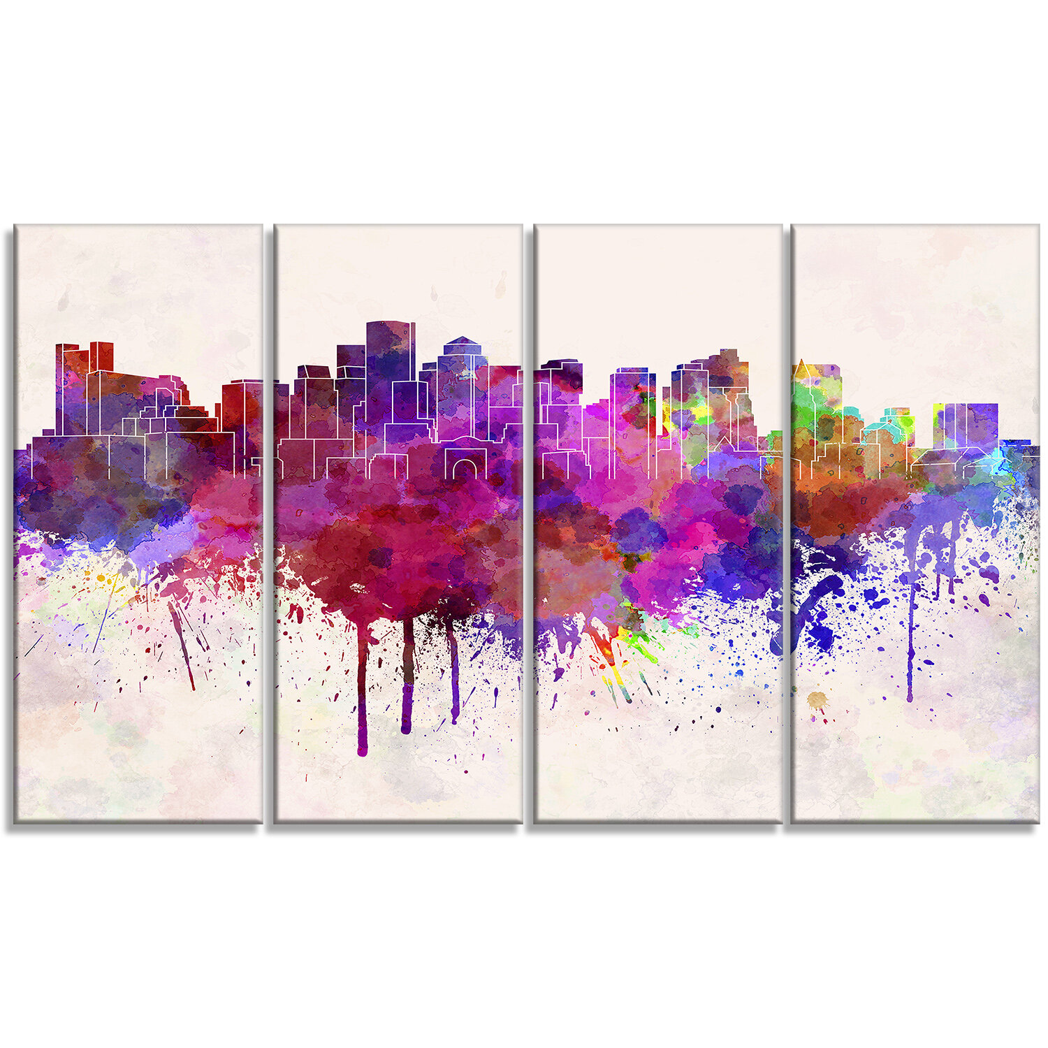 Designart Boston Skyline Cityscape 4 Piece Painting Print On Wrapped Canvas Set Wayfair