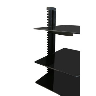 Wall Mounted AV Component Shelving System with 3 Adjustable Tempered Glass Shelves Mount-it