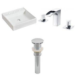 American Imaginations Ceramic Square Bathroom Sink with Faucet
