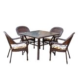 Belwood Resin Wicker 5 Piece Dining Set with Floral Cushions