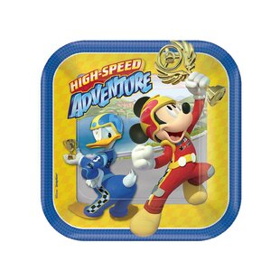 Mickey Roadster Paper Disposable Appetizer Plate (Set of 8)