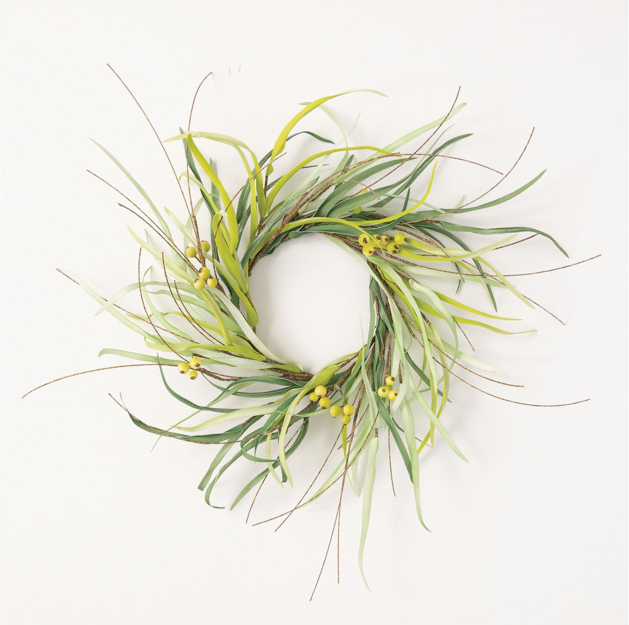 Gracie Oaks Grass And Berry Ring 20 Foam Wreath Wayfair