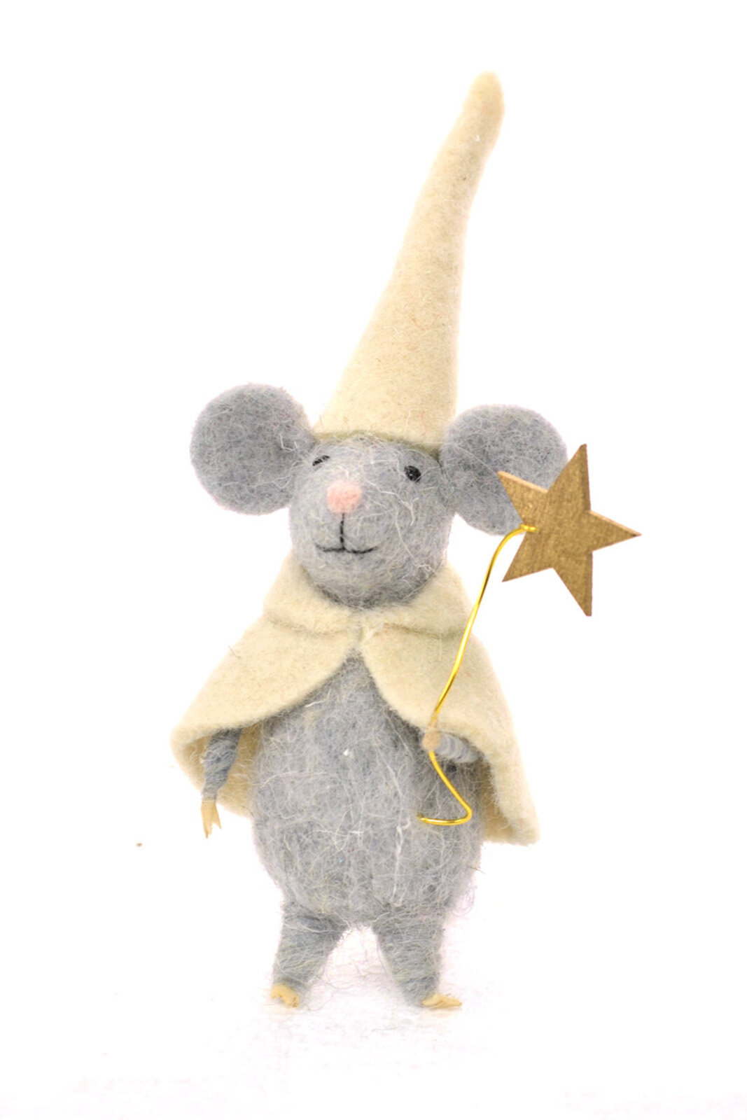 The Holiday Aisle Wool Standing Mouse Holding A Star Holiday Shaped Ornament Set Of 3 Wayfair