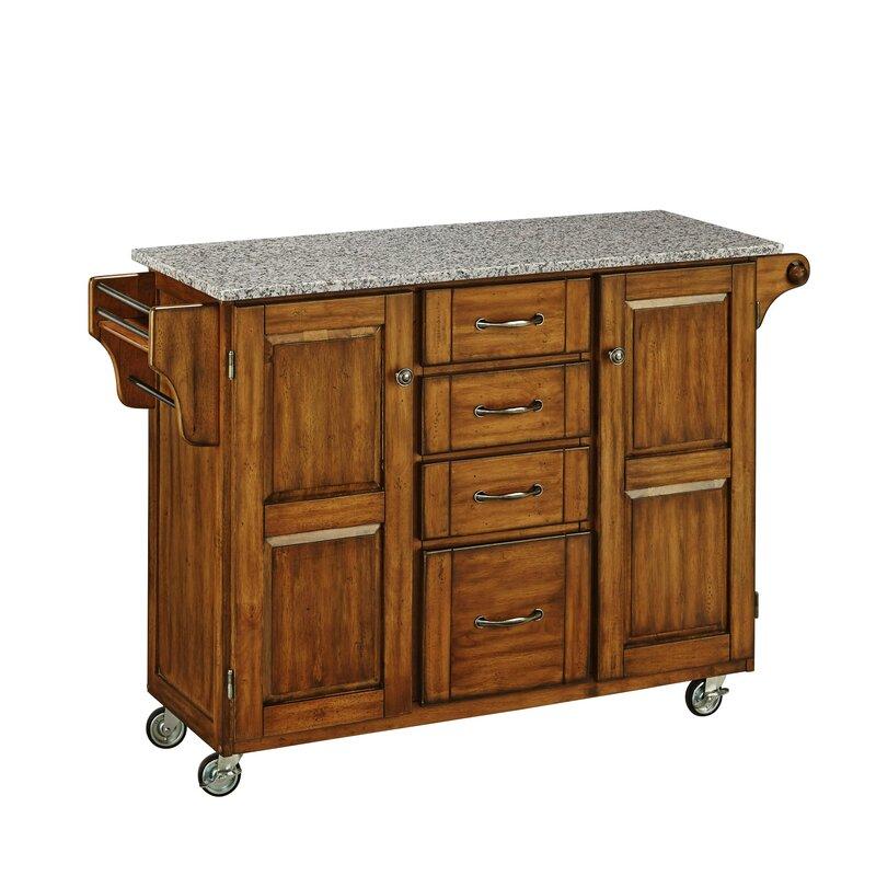 Millwood Pines Legler A Cart Kitchen Island With Granite Top Reviews Wayfair