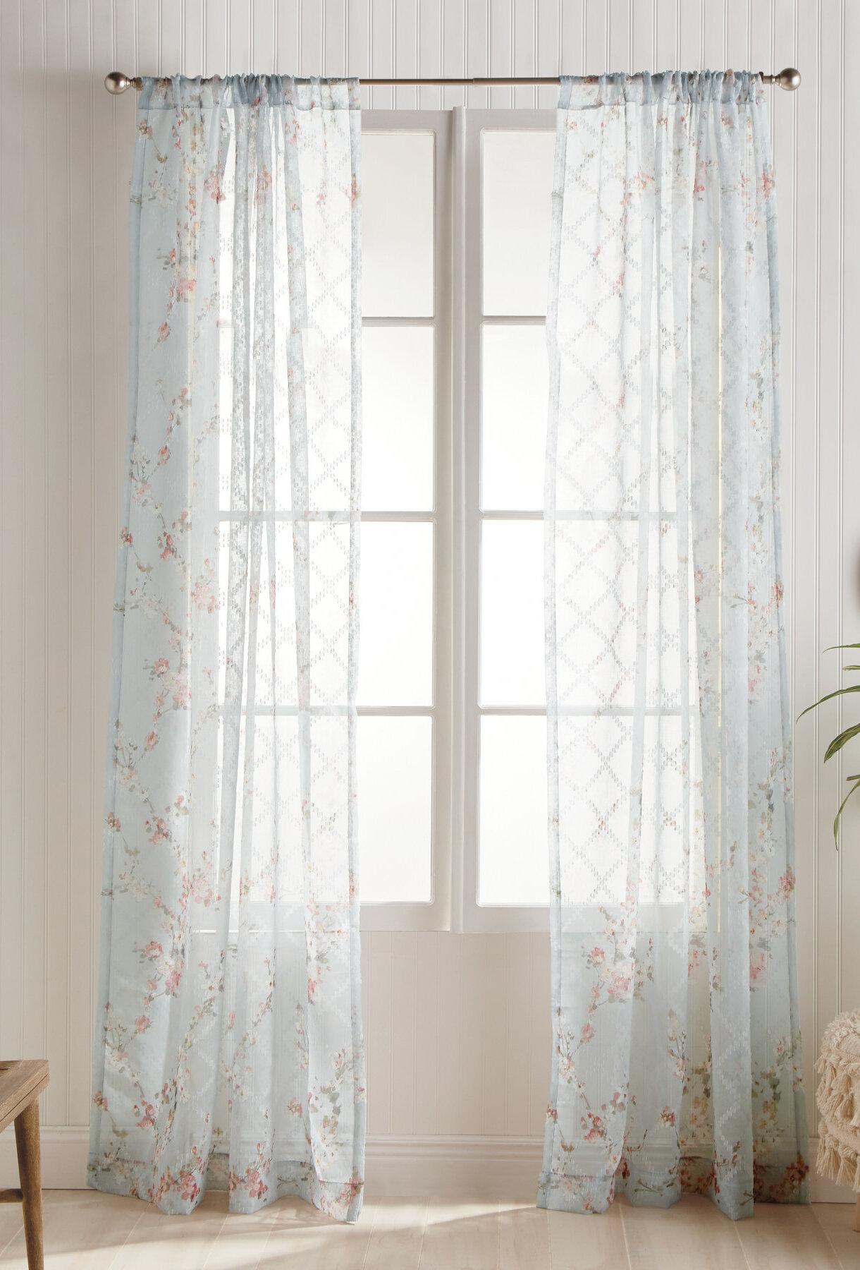 One Allium Way Dewalt Floral Sheer Rod Pocket Single Curtain Panel Wayfair