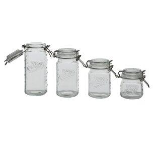 Glass Mini Clamp 4 Piece Storage Jar Set