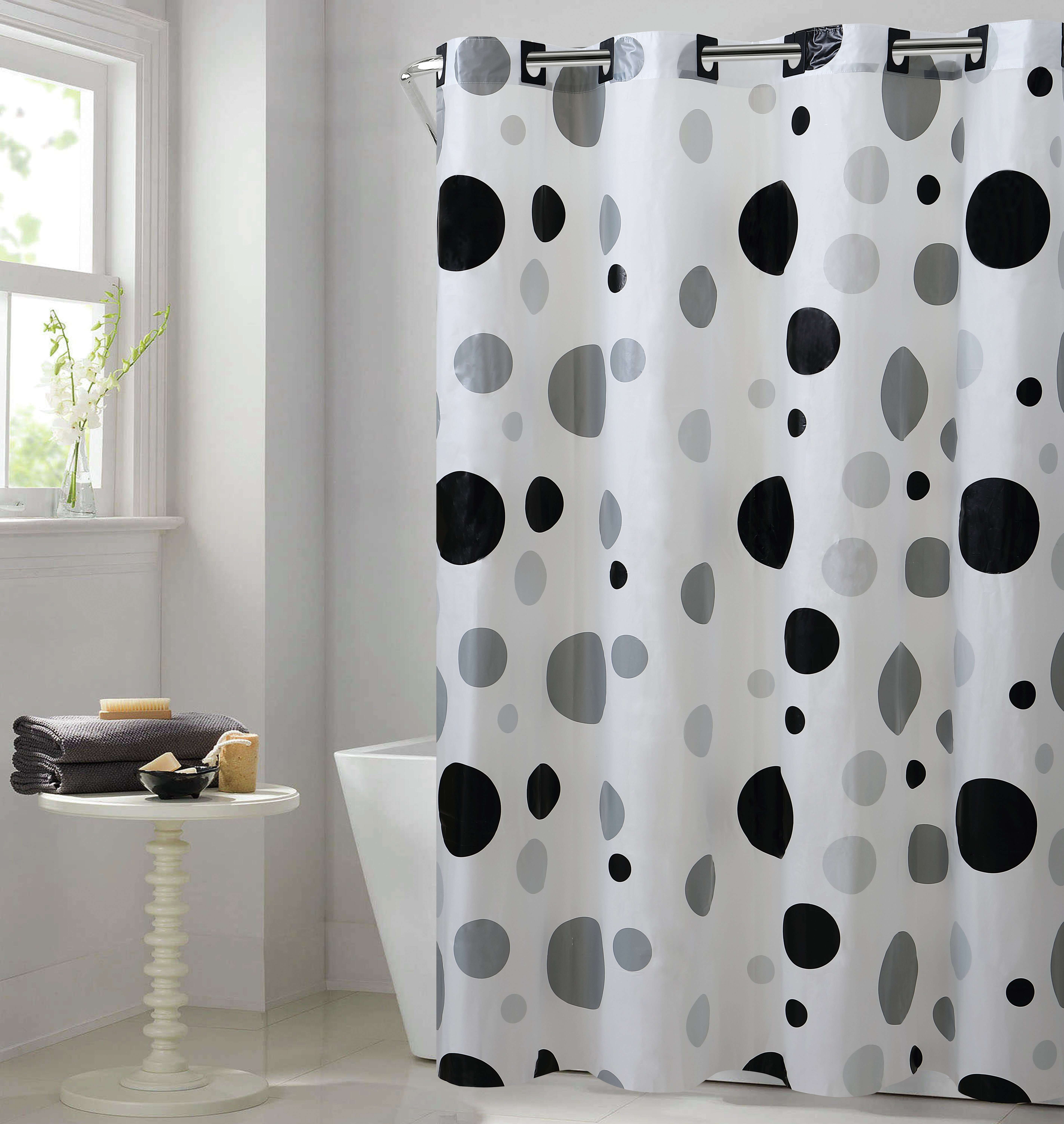 Hookless Dot Vinyl Shower Curtain Reviews