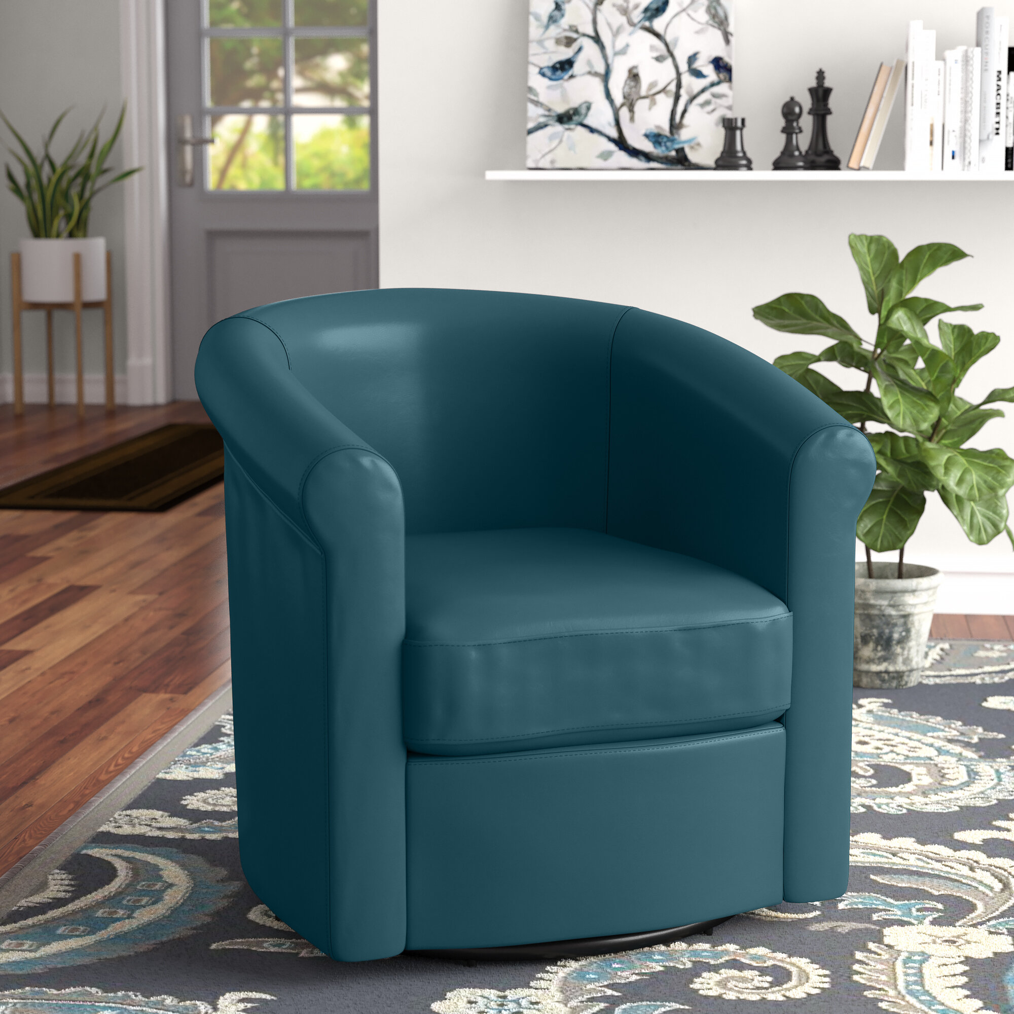Picture of: Winston Porter Pinehill 29 W Faux Leather Swivel Barrel Chair Reviews