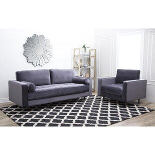 Leela Tufted Velvet 2 Piece Living Room Set