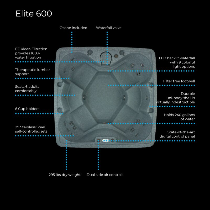 elite 600 6-person 29-jet plug and play hot tub with ozone and