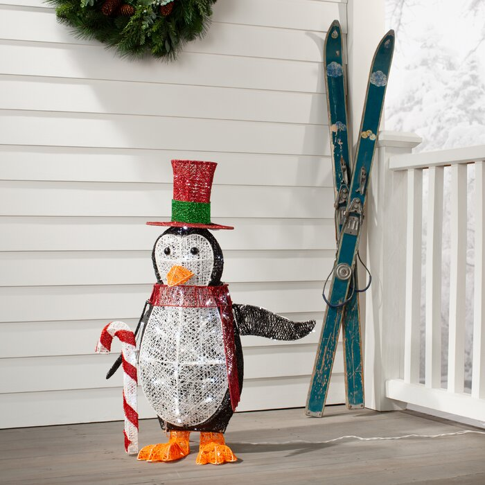 Penguin With Led Lights Lawn Art Figurine