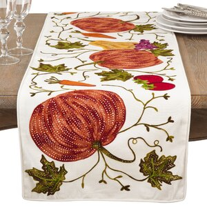 Kapitz Embroidered Pumpkin Harvest Thanksgiving Cotton Table Runner