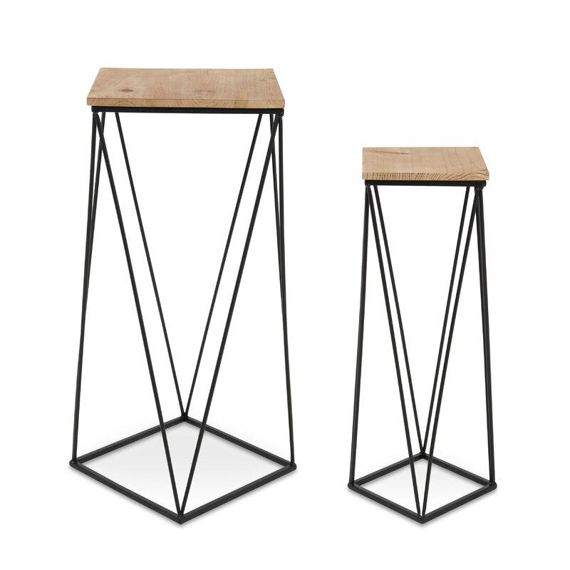 Mercury Row  Lofland Metal Accent 2 Piece Nesting Tables