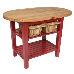 Eliptical C-Table Kitchen Island with Butcher Block Top by John Boos