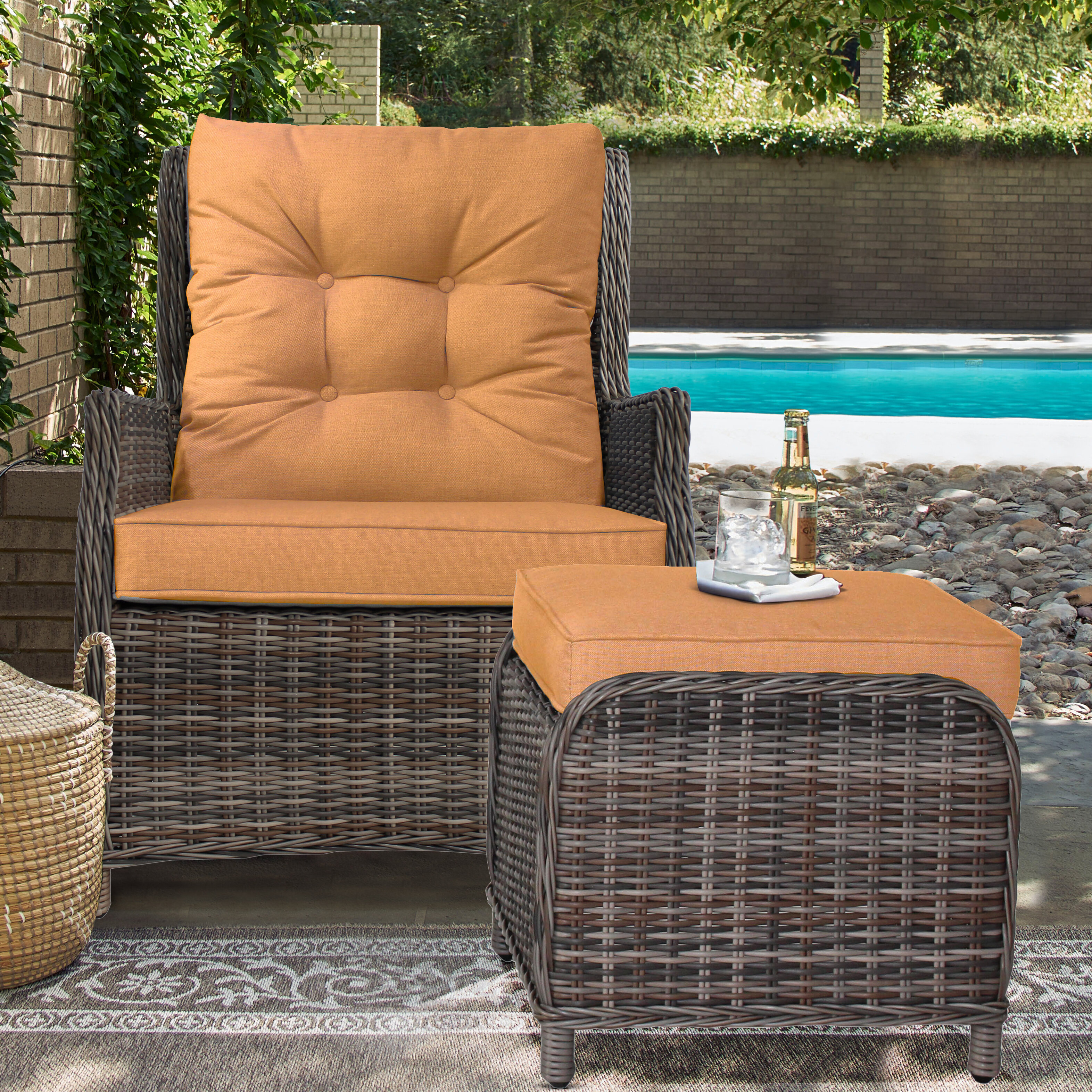 Admirable Cardoza Outdoor Recliner Patio Chair With Cushions And Ottoman Cjindustries Chair Design For Home Cjindustriesco