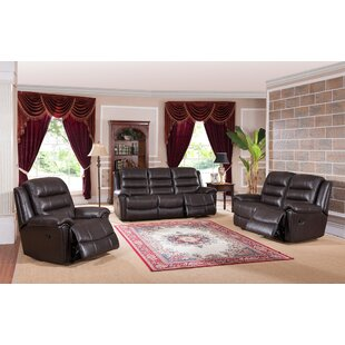 Lorretta Reclining 3 Piece Leather Living Room Set by Red Barrel Studio