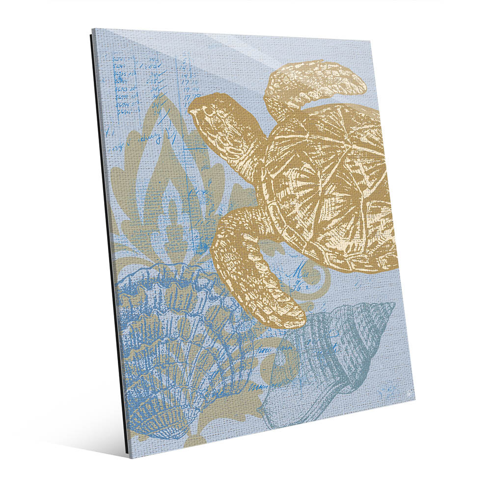 Click Wall Art Damask Sea Turtle Graphic Art in Light Blue | Wayfair