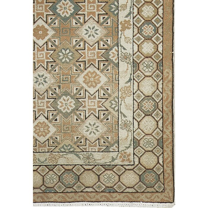 Semi Antique Romania Hand Knotted Wool Light Brown Green Area Rug