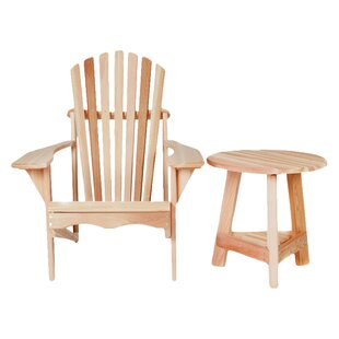 Western Red Cedar Tripod Wood Adirondack Chair with Table