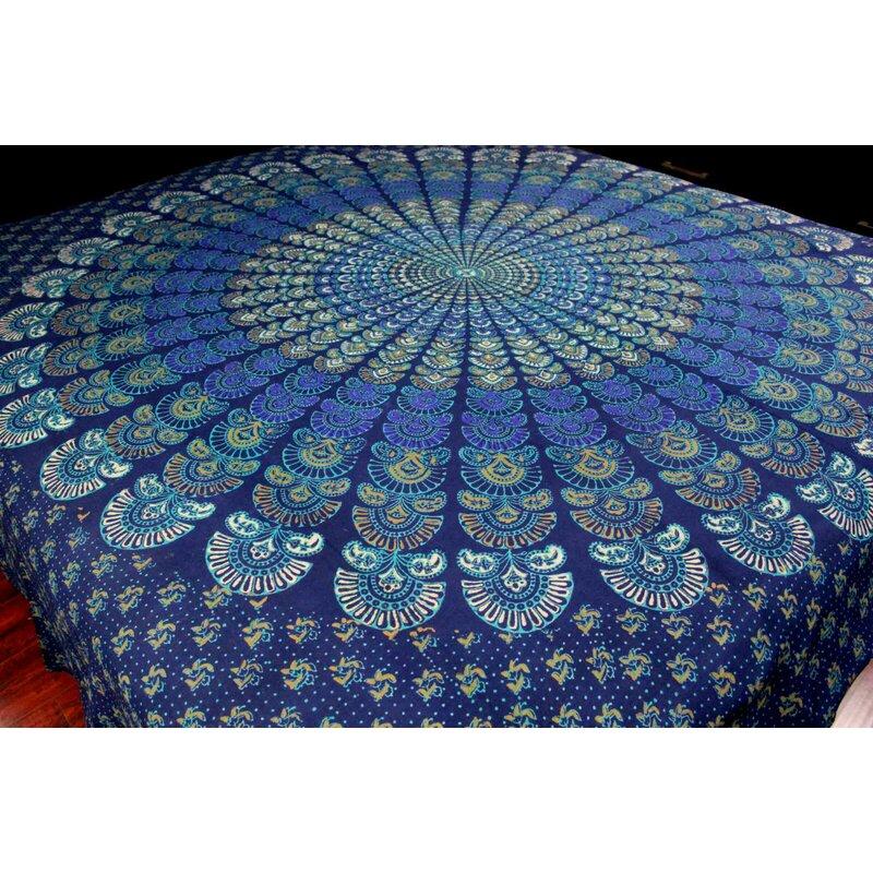 World Menagerie Sanganer Peacock Mandala Cotton Tapestry