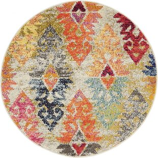 Ariyah Gray/Orange/Yellow Area Rug by Bungalow Rose