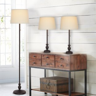 Gerow 3 Piece Table and Floor Lamp Set