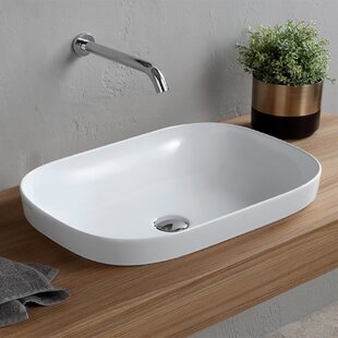 Scarabeo by Nameeks Oval Ceramic Drop In Bathroom Sink with Overflow