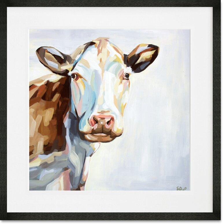 Greenbox Art Farm Cow Framed Painting Print Wayfair