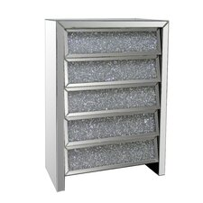 5 Drawer Crystal Mirror Chest by Best Quality Furniture