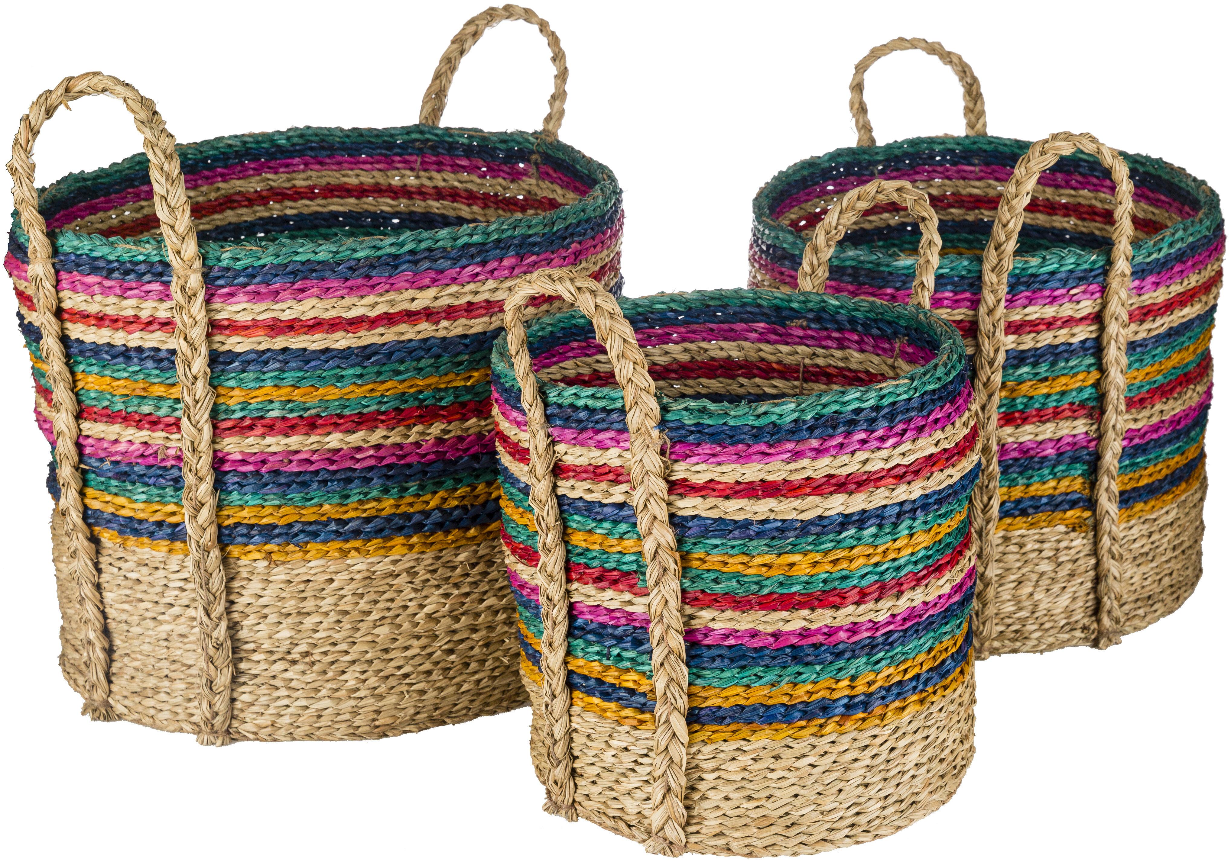 Bayou Breeze Nalani 3 Piece Seagrass Basket Set Wayfair