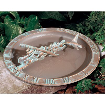 Whitehall Products Hummingbird Sundial Birdbath Colour: Copper Verdi