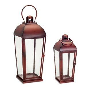 2 Piece Metal/Glass Lantern Set