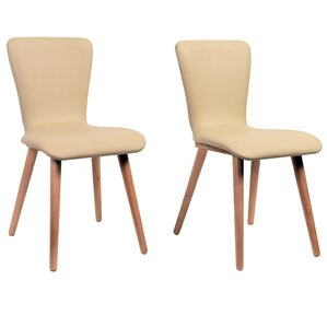 Perla Side Chair in Faux Leather - Cream (Set of 2) by Corrigan Studio