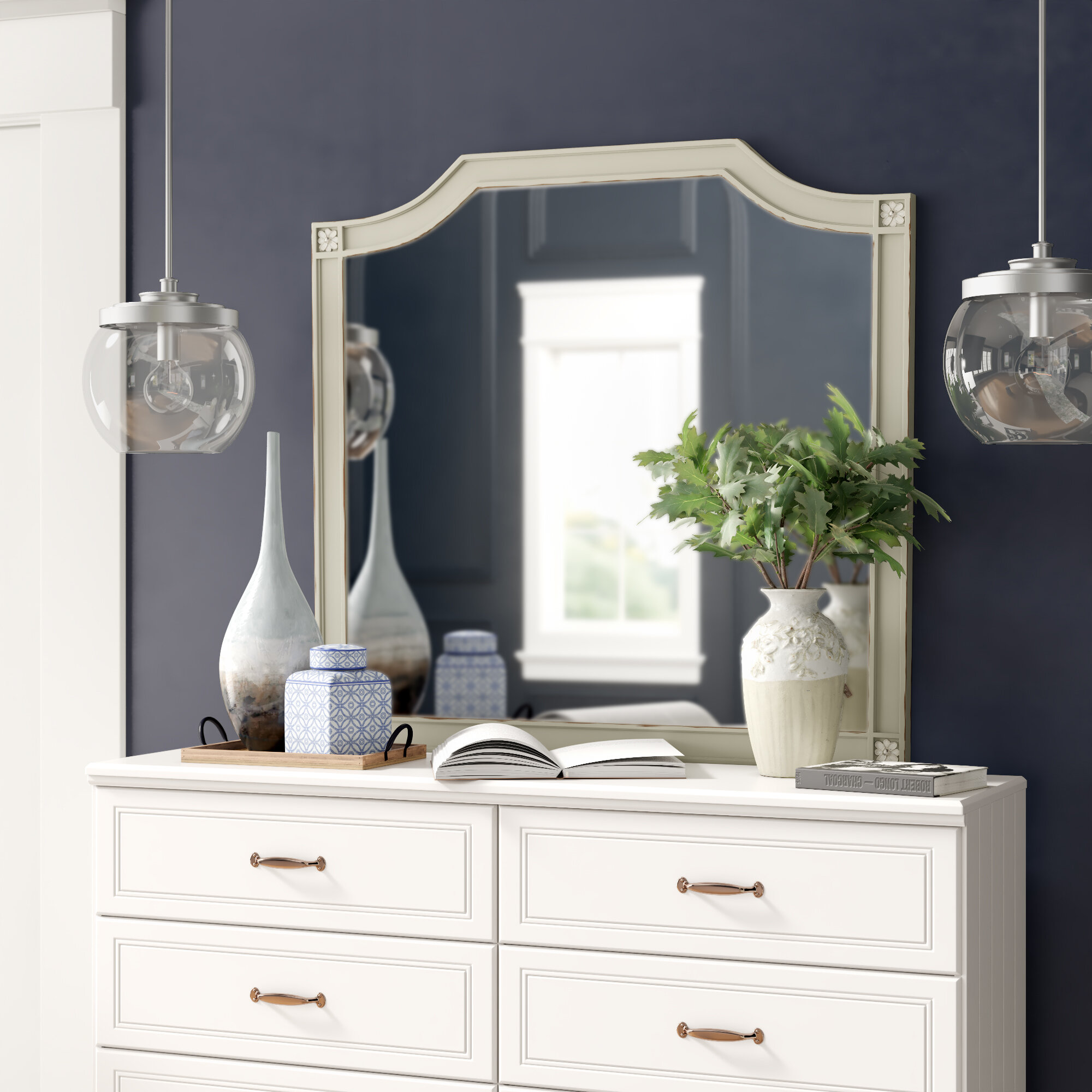 Birch Lane Henrietta Arched Cottage Beveled Distressed Dresser Mirror Reviews Wayfair
