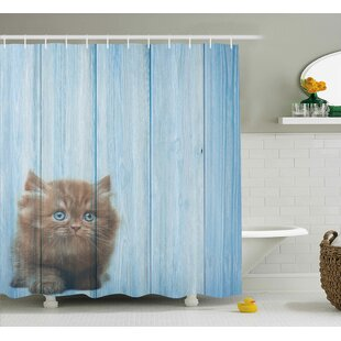 Animal Vivid Rustic Cute Kitty Single Shower Curtain