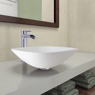 Inexpensive Phoenix Glass Circular Vessel Bathroom Sink with Faucet By VIGO