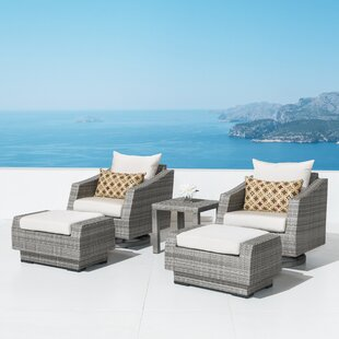 Castelli 5 Piece Rattan Deep Seating Club Chair Conversation Set with Cushions by Wade Logan